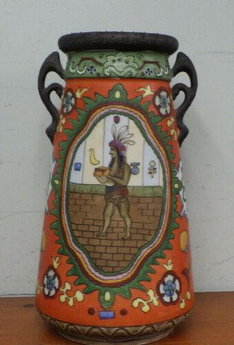 "Antique 11"" Vase Lamp Base Native American Indian Theme Moriage"