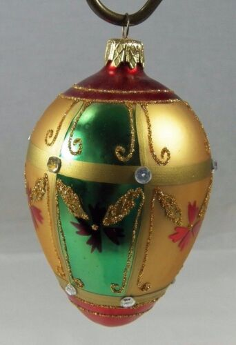 Hand Made Glass Egg Shaped Christmas Ornament with Rhinestones Red Green Gold