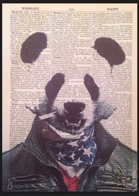Panda Gangster Print Dictionary Page Wall Art Picture Rapper Hip Hop ...