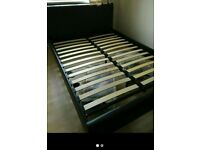 Black brown double bed with mattress