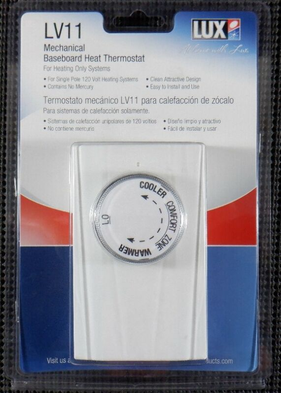 LUX Products LV11 54060 Mechanical Baseboard Heat Thermostat 1P 2640W 120V White