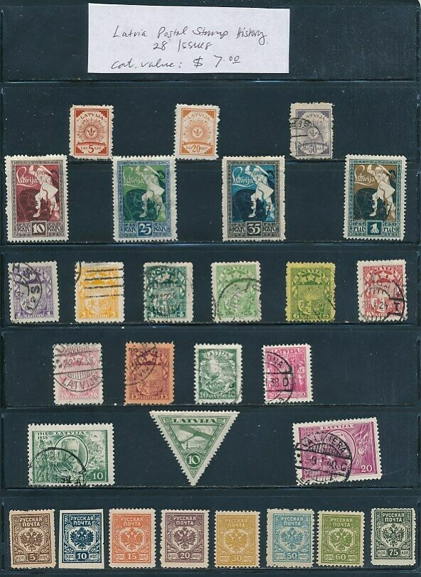 OWN PART OF LATVIA POSTAL STAMP HISTORY. 28 ISSUES CAT VALUE 7.00 - $2.25