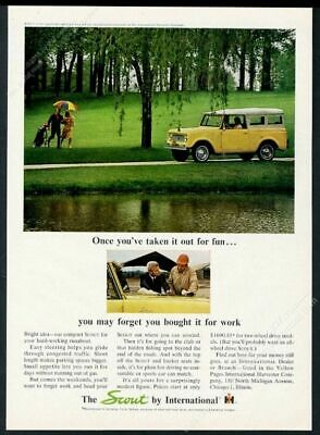 1965 International Scout soft top SUV golf course photo vintage print ad