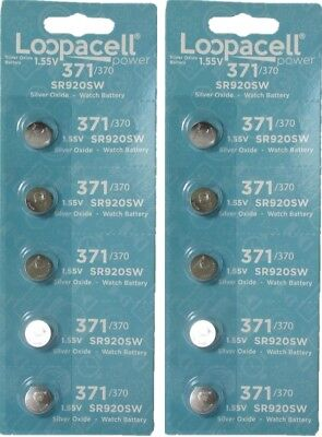 10 Loopacell Watch Battery Button Cell SR920SW 371 (2 Packs of 5) Batteries