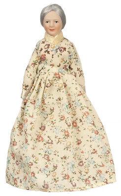 Dollhouse Miniature Doll - Grandma Victorian Porcelain Floral Dress 1:12 Scale