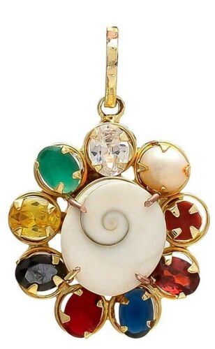 Gold Plated Good Fortune Gomati Chakra Navratan /Navratna Stone Pendant Jewelry