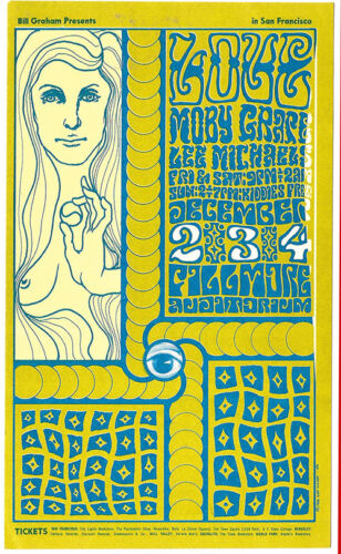 LOVE Moby Grape Lee MICHAELS Fillmore POSTCARD BG 40 1966