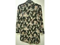 Black Flower Blouse Size 14 New Look