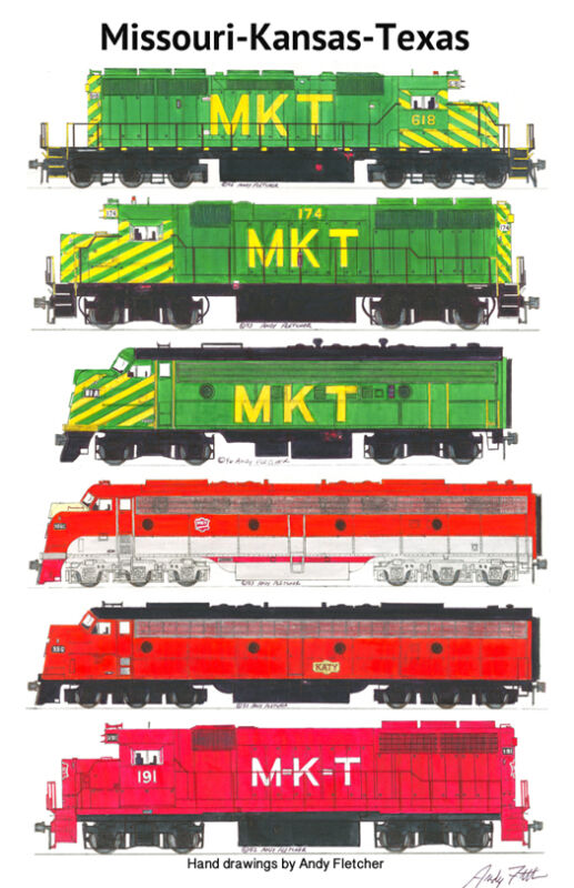 "Missouri-Kansas-Texas Locomotives 11""x17"" Railroad Poster Andy Fletcher signed"