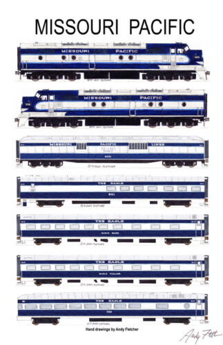 """Missouri Pacific The Eagle 11""""x17"""" Railroad Poster by Andy Fletcher signed"""