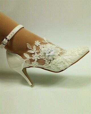 Pu High Heel Pumps (Damen Spitze Blumen Hochzeit Schuhe Braut Hohl Sandalen High Heel PU Pumps Weiße)