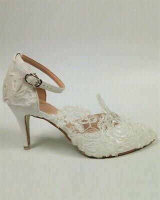 Pu High Heel Pumps (Damen Spitze Blume Hochzeit Schuhe Braut Sandalen High Heel PU Größe 34-42 Pumps)