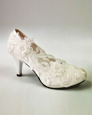 Pu High Heel Pumps (Damen Elegante Braut Hochzeit Schuhe Spitze Blume High Heel PU Weiße Pumps  2019)