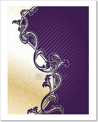 Purple And Gold Decorations (Purple And Gold Elegant Floral Art Print Home Decor Wall Art Poster -)