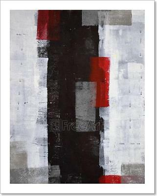 Grey, Black And Red Abstract Art Art Print Home Decor Wall Art Poster - C