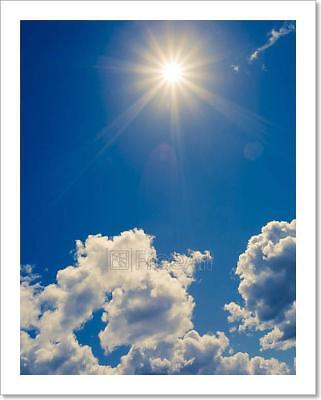 Bright Sun On Blue Sky With Clouds Art Print Home Decor Wall Art Poster - - Blue Sky Decor