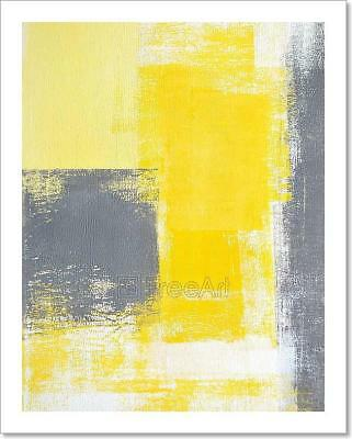 Grey And Yellow Abstract Art Art Print Home Decor Wall Art Poster - C