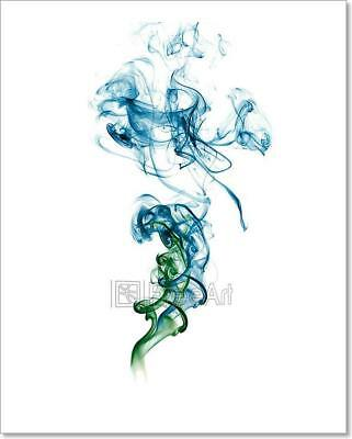 Abstract Blue Green Smoke  Art Print Home Decor Wall Art Poster - C