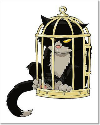 (Cat In The Bird Cage Art Print Home Decor Wall Art Poster)