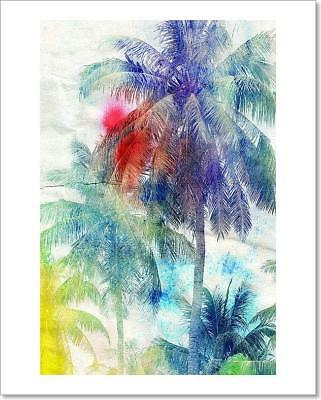 Watercolor Silhouettes Of Palm Trees  Art Print Home Decor Wall Art Poster - C ()