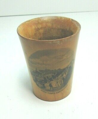 ANTIQUE MAUCHLINE TRANSFER WARE WOODEN BEAKER WISH TOWER EASTBOURNE