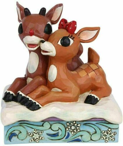 Jim Shore Traditions RUDOLPH and CLARICE Laying Down Reindeer Figurine 6006790