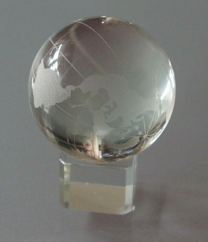 Glas Globus Erdkugel Klar Transparent 85 mm