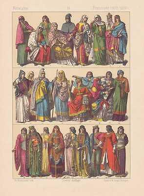Franzosen Karolinger Zeit Tracht Mode LITHOGRAPHIE von 1883 Mittelalter