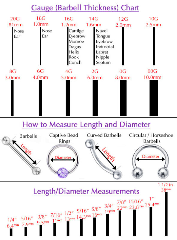 earrings size chart guide to buying care of piercings ebay 6082