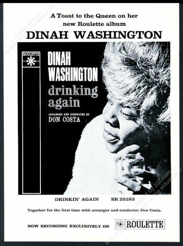 1962 Dinah Washington photo Drinking Again album release vintage print ad