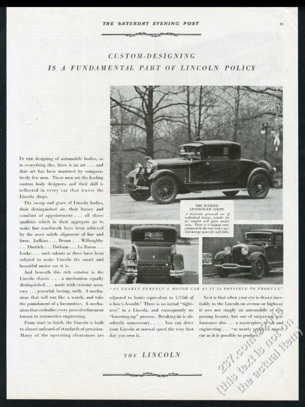 1929 Lincoln Judkins 2-passenger coupe car 3 photo vintage print ad