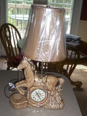 VINTAGE HORSE CLOCK, TABLE LAMP PLANTER W/LAMP SHADE