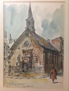 Quebec pen and ink watercolor original 1961 painting