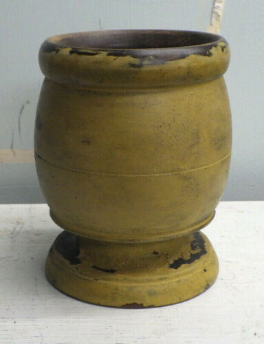 Antique Painted Turned Wood Mortar Mustard Yellow Early American Primitive