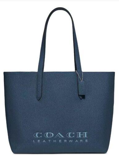 Coach Highline Dark Denim Silver Crossgrain Leather Tote Shopper