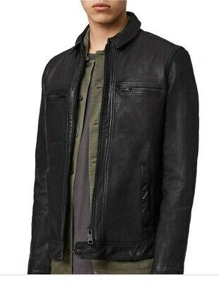 $498+ New with Tags All Saints Mens Lark Leather Jacket - Medium - Black - NWT