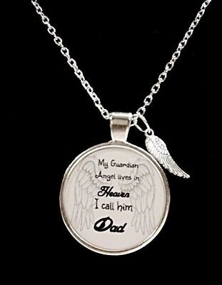 Dad In Heaven Necklace Guardian Angel Father In Memory Remembrance Wing - Guardian Angel Necklace