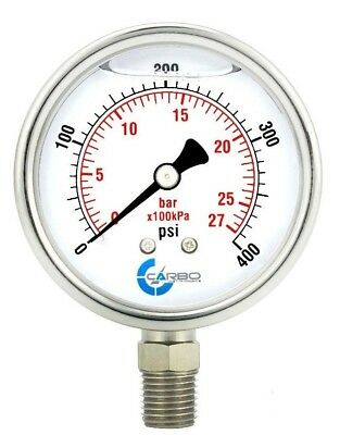 2-12 Pressure Gauge Stainless Steel Case Liquid Filled Lower Mnt 400 Psi