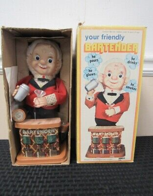 Vintage Your Friendly Bartender Toy in Original Box Working! New Old Stock