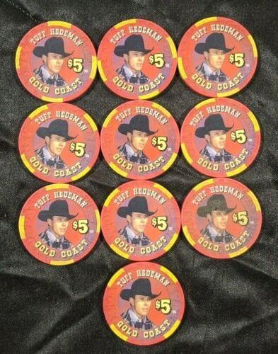 (10) Rare Gold Coast Casino (Rodeo Las Vegas Legends) Tuff Hedeman $5 Chip