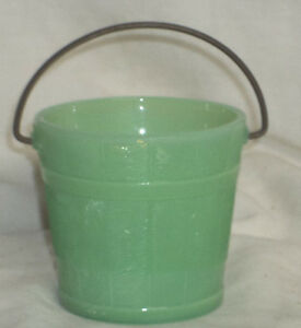 Martha Stewart by Mail LE Smith Jadeite Glass Oaken Bucket With Metal Handle