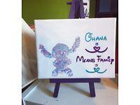 Handpainted Ohana Mini Disney Canvas (16x12cm)