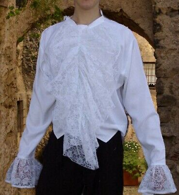 Gothic Mittelalter Vampir Spitzen Jabot Hemd weiß schwarz 46 48 50 52 54 56