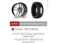 """BMW SET OF AVA CHICAGO ALLOY WHEELS WITH TYRES 8.5 X 19"""" & 9.5X19"""" REARS DEEPER"""