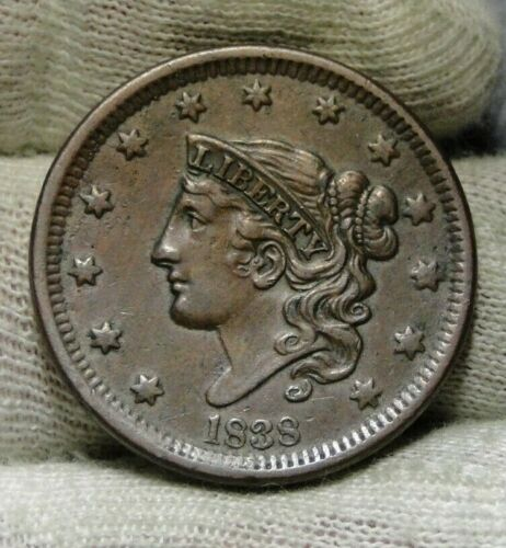 1838 Penny Coronet Large Cent 1C - Nice Coin, Free Shipping  (8822)