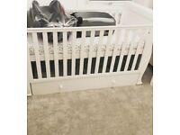 Solid white cot bed