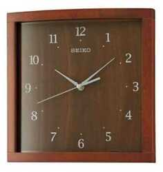 PRE-OWNED $75 Seiko Wall Clock Classic Darl Brown Wood QXA675ZLH WITH DEFECT