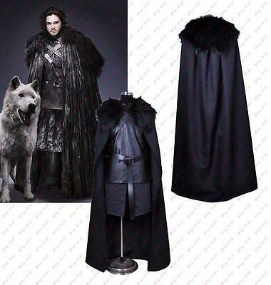 Game of Thrones Jon Snow Cosplay Costume Halloween Fancy Party Black Men Outfit - Black Outfit Halloween