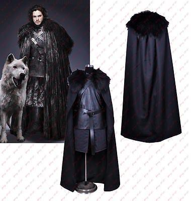 Game of Thrones Jon Snow Cosplay Costume Halloween Fancy Party Black Men Outfit](Snowmen Costume)