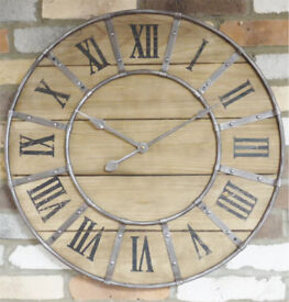 Large industrial wood / Metal Wall Clock